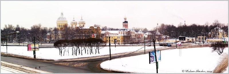 фото альбом Россия - Панорамы центра Петербурга Вид на Александро-Невскую Лавру с моста Александр