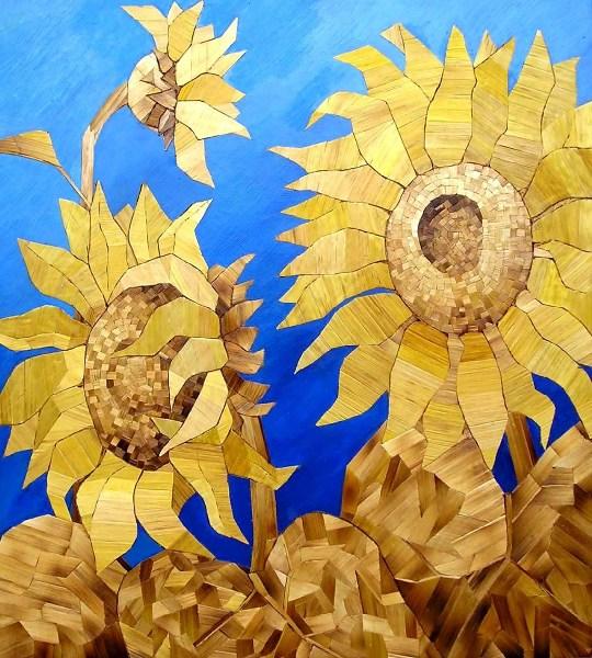 фото альбом Рисунки - Картины из соломы Подсолнухи, 2002 г.